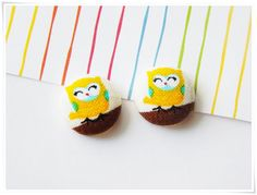 The Cutest Owl Earrings in the World! Adorable Tiny Owl Fabric-Covered Button Stud Earrings :) By ZzzonkOwl