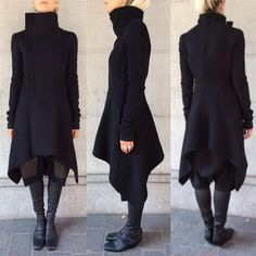 boutiqueroma: Simply beautiful… Oblique Biker Coat & Stretch Overknees available now Witch Fashion, Dark Fashion, Autumn Fashion, Mode Outfits, Fashion Outfits, Womens Fashion, Mein Style, Mode Chic, Character Outfits