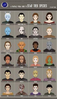 Star Trek Species Chart by Hanami-Mai.c… - Buy Me A Coffee Star Trek Original, Star Trek Voyager, Star Trek Tos, Star Trek Species, Vaisseau Star Trek, Arte Sci Fi, Star Trek Images, Star Trek Characters, Star Trek Starships