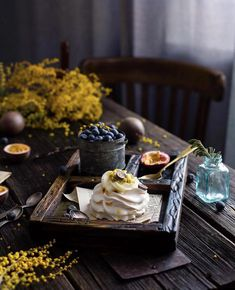 Food Photography, Breakfast, Flower Table, Meringue, Pancake, Scene, Dark, Image, Morning Coffee