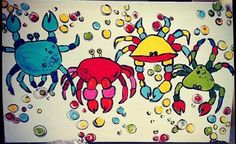 Crab painting original, Acrylic painting, crabs, whimsical art, childerns art, colorful, bright painting, large canvas art