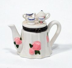 TEA POT AND TEA SET  Porcelain Hinged Trinket Box
