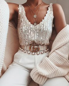 Gorgeous top + stunning necklaces via Discount Code: for off Top: Ibiza Sequin Criss Cross… Boujee Outfits, Cute Casual Outfits, Stylish Outfits, Fashion Outfits, Girl Fashion, Womens Fashion, Aesthetic Clothes, Beautiful Outfits, Dress To Impress