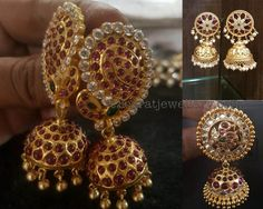 Heavy Kundan Jhumkas in Silver