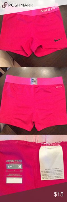 NIKE PRO Dri-Fit Spandex Gently used, great used condition! Bright pink color with hot pink waist. Lined. Offers welcome through feature! Last picture is not the same spandex, shown for fit. Nike Shorts