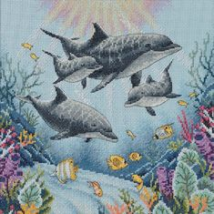 Dolphin Morning Cross Stitch Pattern by AoteaStitch on Etsy Modern Cross Stitch Patterns, Cross Stitch Designs, Cross Stitch Needles, Tapestry Crochet, Back Stitch, Cross Stitch Flowers, Counted Cross Stitch Patterns, Le Point, Cross Stitching