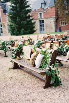 I like the benches, greenery and pillows.  These are simple additions to the cushioned seating.