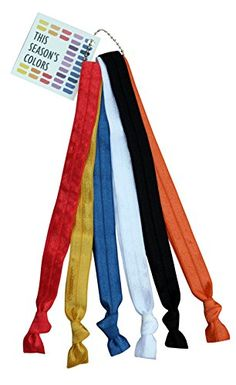 This Seasons Colors Primary and Classic Solids Stretch Elastic Headband Hair Ties with a bonus Headband Guaranteed to receive a Red Yellow Blue White Black and Bonus Color -- Continue to the product at the image link.