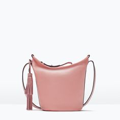 Image 1 of LEATHER BUCKET BAG WITH TASSEL from Zara