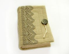 Lace linen handmade journal diary sketchbook 240 by ArtsBooks,