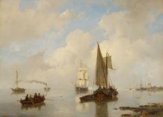 """Andreas Schelfhout: """"De Zeeuwsche stroomen bij stil weder, in 't verschiet eene stoomboot"""" 1860, color on panel, Amsterdam Museum"""