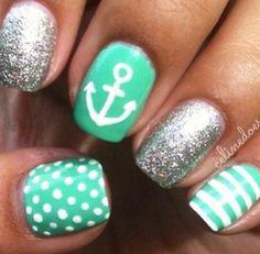 Mint green anchor nails