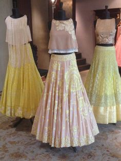 """The Yellow Story at flagship store in Mumbai! Lehenga Designs, Kurta Designs, Saree Blouse Designs, Indian Designer Outfits, Designer Dresses, Indian Dresses, Indian Outfits, Indian Clothes, Latest Dress"