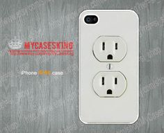 Funny Electrical Outlet iPhone 4 case Electrical Outlet iPhone 4s case iphone 4 4g 4s Hard/Rubber case-Choose Your Favourite Color  by MyCasesKing, $6.99
