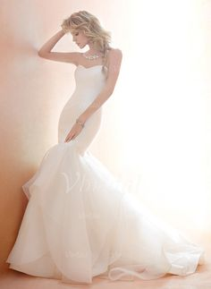 Wedding Dresses - $234.99 - Trumpet/Mermaid Strapless Sweetheart Chapel Train Tulle Wedding Dress With Ruffle (0025056864)