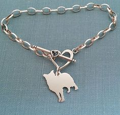 .925 Sterling Border Collie Dog Chain Bracelet with Heart Toggle Your Pet Memorial Jewelry >>> You can find more details by visiting the image link. (Amazon affiliate link)