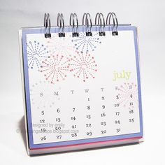 I just *love* the sparkler stamp, but I always want to make it into fireworks by omitting the stick. July Calendar, Calendar Ideas, Happy July, Cd Cases, Desk Calendars, Paper Pumpkin, Sparklers, Sticky Notes, Just Love