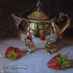 "Daily Paintworks - ""Silver and Strawberries"" - Original Fine Art for Sale - © Elena Katsyura"