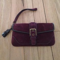 Dark Plum / Burgundy Suede Wristlet American Eagle Crochet Cross Body Bag with button closure. No marks, flaws or imperfections. In excellent condition! Bags Clutches & Wristlets