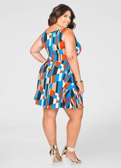 Colorblock Zip Skater Dress - Ashley Stewart