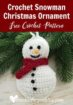 Crochet Gift Patterns Crochet Snowman Christmas Ornament Free Pattern - Here is the first pattern of Christmas Ornament Mini CAL. This Crochet Snowman looks cute and perfect for Christmas ornament. Crochet Christmas Decorations, Snowman Christmas Ornaments, Christmas Crochet Patterns, Holiday Crochet, Crochet Gifts, Christmas Crafts, Crochet Winter, Felt Christmas, Crochet Ideas
