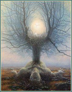 Tomasz Alen Kopera est un artiste polonais de 36 ans basé actuellement en Irlande. Ses peintures à l'huile aux détails impressionnants représentent la dualité entre la nature humaine et les mystères de l'univers. Découvrez en plus sur cet artiste en allant faire un tour sur son portfolio.