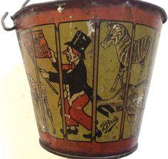 "Antique 1911 T. Bros. tin-litho toy sand pail ""Hurrah for Circus Day"" #TBros"
