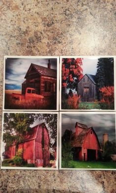 Red Barns   Decorative Tiles and Coasters by scontrino1970 on Etsy, $16.00