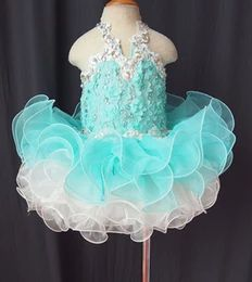 Discount cheap infant cupcake pageant dresses Cheap!Halter organza light sky blue crystal applique flower cupcake little girls pageant dresses kids toddler glitz prom Infant ball gowns
