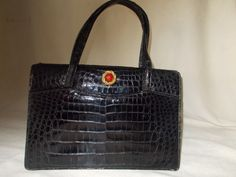 Beautiful MANON vintage black alligator handbag by VintageHandbagDreams on Etsy
