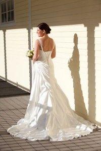 Bride on porch, Butternut Farm Golf Club, Stow, MA