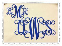 $2.95 Vine Intertwined Monogram Machine Embroidery Font