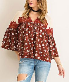 Love this Burgundy Floral Bell-Sleeve Swing Top on #zulily! #zulilyfinds