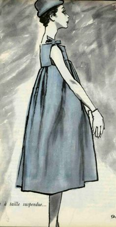 1958 Hubert de Givenchy Fashion Illustration Vintage, Illustration Mode, Fashion Illustrations, 1950s Style, Fashion Photo, Fashion Art, Fashion Beauty, Hubert Givenchy, Balenciaga