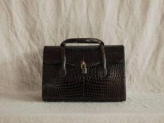 Vintage Mark Cross Alligator Satchel Handbag Mark Cross, Vintage Bags, Satchel Handbags, Wallet, Trending Outfits, Unique Jewelry, Handmade Gifts, Etsy, Fashion
