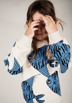 Mini rodini ss15 blue fish sweatshirt