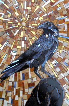 Greetings card from an original glass mosaic of a crow. The original was made completely from glass. This image is printed in full colour on high