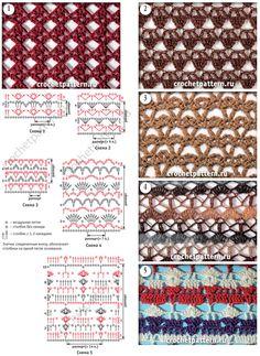 Фрагменты со схемами и описанием вязания крючком сетчатых узоров. Страница 131.
