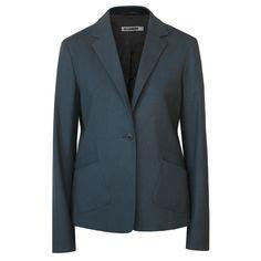 JIL SANDER dark teal wool cashmere tilted pocket winter blazer suit jacket 40/8 #JilSander #Blazer