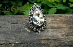 Anel de prata com abalone