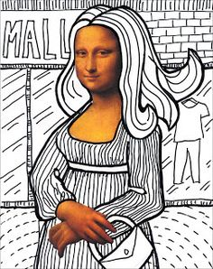 Mona Lisa Line Art · Art Projects for Kids Line Art Projects, School Art Projects, Drawing Projects, Art Sub Plans, Art Lesson Plans, High School Art, Middle School Art, Arte Elemental, 6th Grade Art