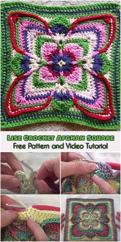 Crochet Square Patterns Lise Crochet Afghan Square [Free Pattern and Video Tutorial] Crochet Mandala Pattern, Granny Square Crochet Pattern, Crochet Stitches Patterns, Crochet Borders, Afghan Patterns, Cross Stitches, Crochet Granny, Crochet Square Blanket, Crochet Squares Afghan