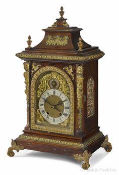 Shelf Clock; Lund & Blockley, Pagoda Top, Mahogany, Time & Strike, 24 inch. Year: 1876 - 1900