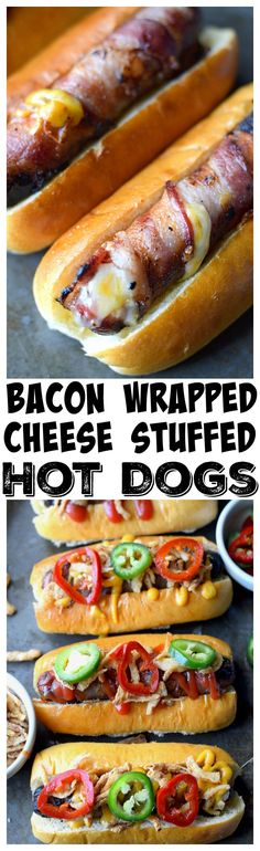 Bacon wrapped, cheese stuffed hot dogs are a super simple summer meal, with a slight twist. Topped with Crispy Onions and Jalapenos and always a hit! Wrapped Hot Dogs, Bacon Wrapped Hotdogs, Grilled Cheese Hot Dog, Cheese Stuffed Burgers, Grilling Recipes, Cooking Recipes, Hot Dog Recipes, Game Recipes, Pork Recipes