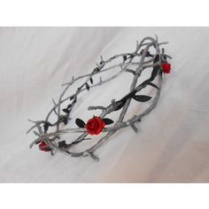 Barbed Wire Crown of Thorns Silver Black Leaves Red Rose Goth Industrial Headband Zombie Prisoner Costume Wedding Circlet Bridal Headpiece