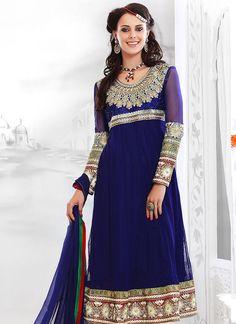 Cbazaar Blue Resham Adorned Net Churidar Suit