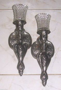 Exceptional HOME INTERIORS HOMCO SET OF TWO DIAMOND LITE VOTIVES WITH TWO SILVER SCONCES  | EBay