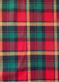 Cotton Flannel Plaid Fabric, Ralph Red/Green - by the yard