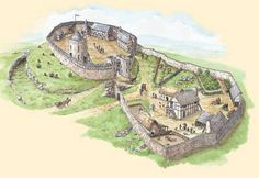 Reconstruction of Dundrum Castle, County Down, for Environment Service interpretive panel