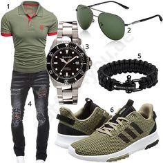 Schwarz-Grünes Herrenoutfit mit Poloshirt und Jeans